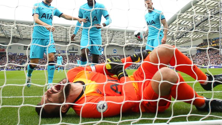 Hugo Lloris of Tottenham Hotspur is in agony after falling awkwardly in the 3-0 defeat to Brighton in the English Premier League.