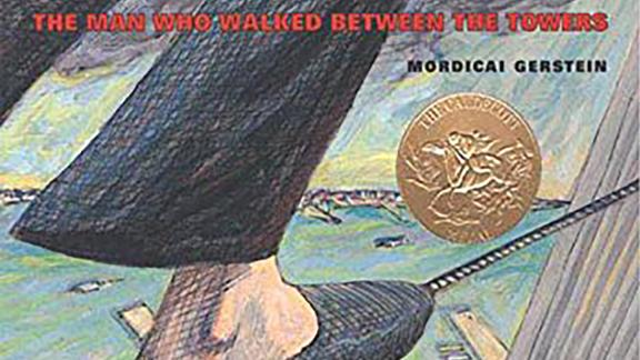 """""""The Man Who Walked Between the Towers"""" is Gerstein's most popular work, recounting the day when Philippe Petit walked, lay, knelt and danced on a tightrope between the twin towers of the World Trade Center in 1974.  The book won the 2004 Caldecott Medal for his illustrations."""