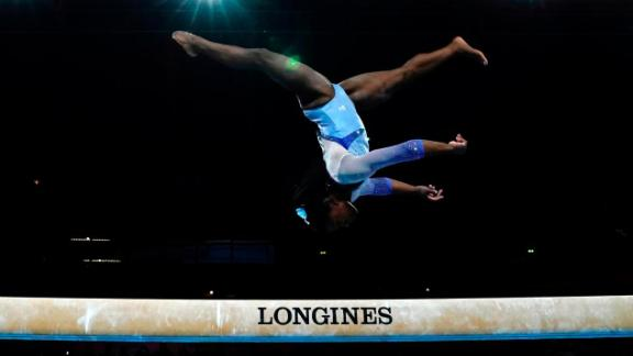 Simone Biles during the women's qualifying session at the FIG Artistic Gymnastics World Championships in Stuttgart, Germany
