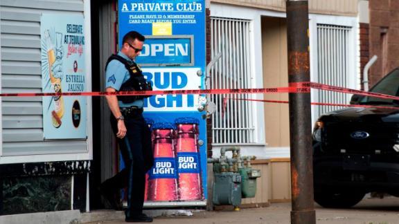 Kansas City, Kansas police investigate the scene of a shooting at Tequila KC Bar Sunday, October 6, 2019.