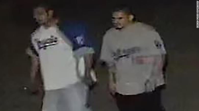 Kansas City police said this security camera image shows two suspects in the shooting.