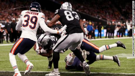 DeAndre Washington of the Oakland Raiders scores his team's second touchdown during the match between the Chicago Bears and Oakland Raiders last Sunday.
