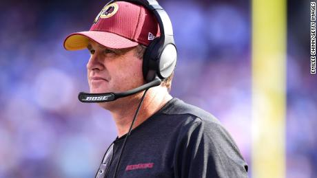 The Washington Redskins head coach Jay Gruden looks on during their game against the New York Giants at MetLife Stadium on September 29, 2019 in East Rutherford, New Jersey.