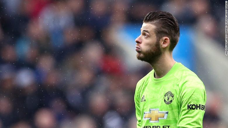 David De Gea of Manchester United reacts during the defeat at Newcastle.