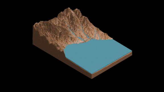 An illustration of salty lakes on the bed of Gale crater.