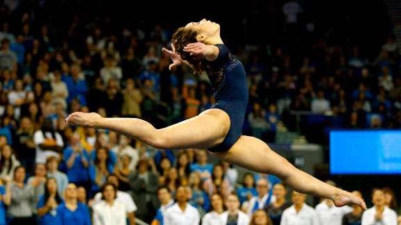 UCLA's Katelyn Ohashi competes in floor exercise during a PAC-12 meet against Arizona State.
