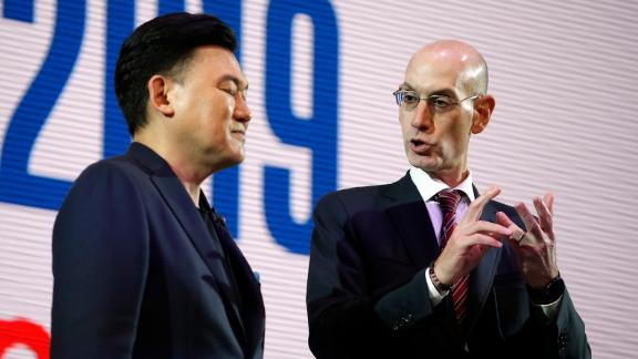 NBA Commissioner Adam Silver, right, speaking with Rakuten CEO Mickey Mikitani in Tokyo on Monday.