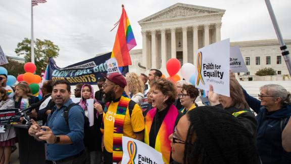 Supporters of the LGBT community gather in front of the U.S. Supreme Court, Tuesday, October 8, in Washington.
