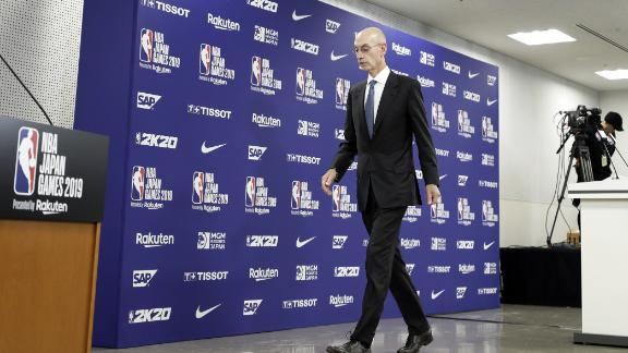 Adam Silver, commissioner of the National Basketball Association (NBA), departs a news conference prior to the NBA Japan Games 2019 between the Houston Rockets and the Toronto Raptors in Saitama, Japan, on Tuesday, Oct. 8, 2019. Chinas state broadcaster CCTV said Tuesday that it would halt broadcasts of the National Basketball Associations games as a backlash intensified against the U.S. league over a tweet that expressed support for Hong Kongs pro-democracy protesters. Photographer: Kiyoshi Ota/Bloomberg via Getty Images