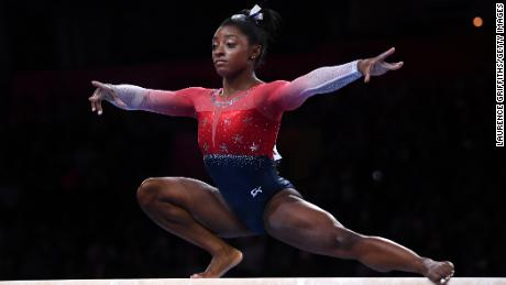 Biles performs on Balance Beam during the Women's Team Finals