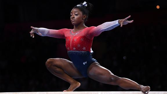 Biles performs on Balance Beam  during the Women
