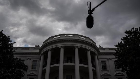 Clouds are seen over the White House as sheriffs present President Donald J. Trump with an appreciation plaque at the South Portico on Thursday, September 26.