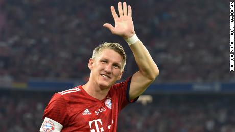 Bastian Schweinsteiger waves during his farewell match between Bayern Munich and Chicago Fire