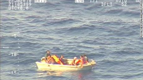 Imagery that was taken from Royal New Zealand Air Force P-3K2 Orion as the fishing vessel picked up the seven survivors.