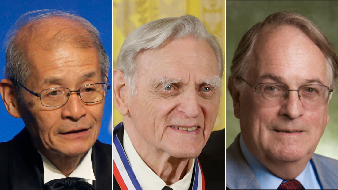The 2019 Nobel Prize in Chemistry laureates (from left to right): Akira Yoshino, John B. Goodenough, and M. Stanley Whittingham.