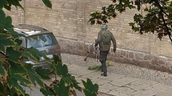 This image shared on social media shows the alleged shooter in Halle, Germany, on October 9, 2019.