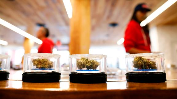 Marijuana displayed at MedMen on the first day of recreational sales, January 2, 2018 in West Hollywood, California.