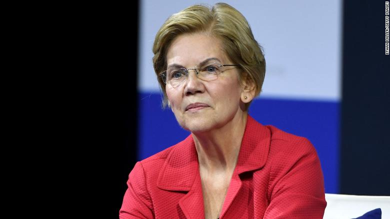 In this October 2, 2019, file photo, Sen. Elizabeth Warren listens to a question from an audience member during a gun safety forum in Las Vegas.