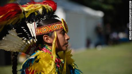 An attendee seen at the inaugural Indigenous Peoples Day Celebration at Los Angeles Grand Park on October 8, 2018.