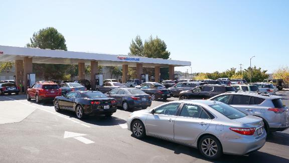 Cars lined up to get gas at a station in Vallejo Wednesday.