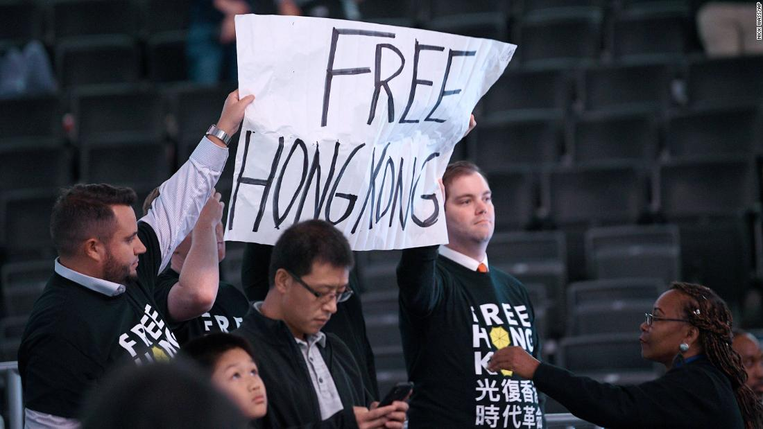Pro-Hong Kong signs were confiscated at the Washington Wizards game