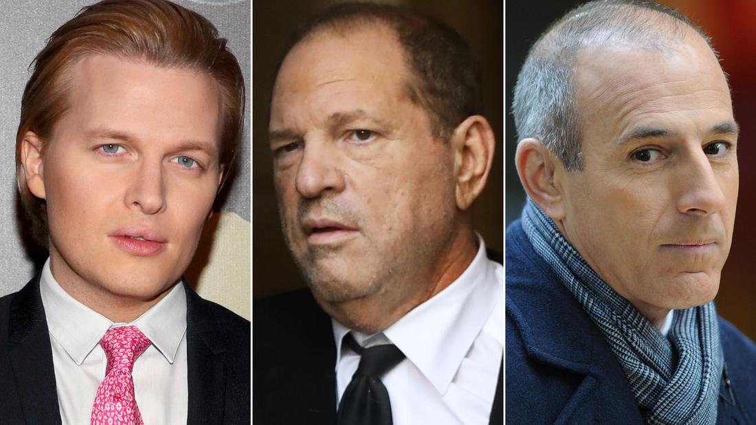 (L-R) Ronan Farrow, Harvey Weinstein and Matt Lauer