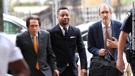 Cuba Gooding Jr., center, arrives for trial on his sexual assault case in October 2019 in New York City.