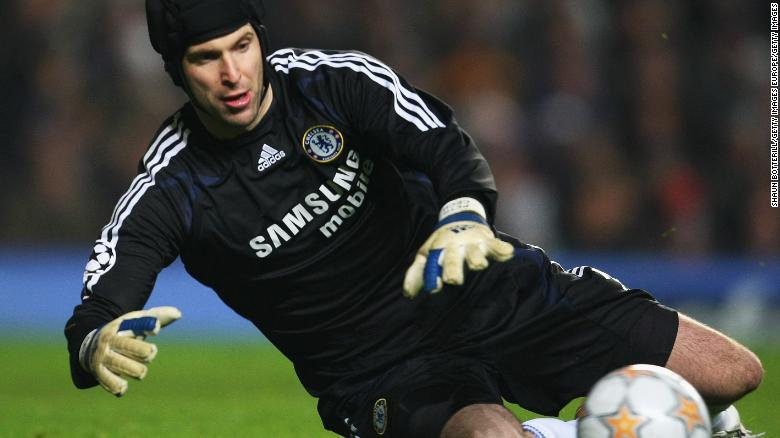 Petr Cech in action during the UEFA Champions League for Chelsea.