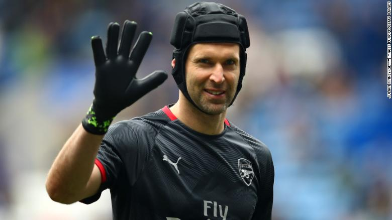 Petr Cech wore a rugby-style scrum-cap after a serious head injury.