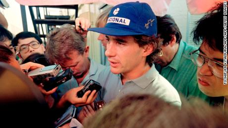 Ayrton Senna faced tough questions from reporters in Japan after the first-lap crash with Alain Prost in 1990.