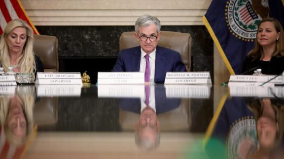 """WASHINGTON, DC - OCTOBER 04: Federal Reserve Board Chairman Jerome Powell (C) attends an event at the Federal Reserve headquarters October 4, 2019 in Washington, DC. Powell participated in a """"Fed Listens"""" event on """"Perspectives on Maximum Employment and Price Stability."""" (Photo by Win McNamee/Getty Images)"""