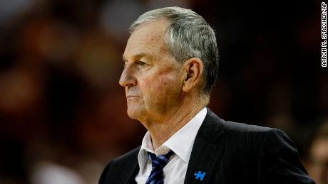 Jim Calhoun, then head coach of the UConn Huskies, watches the team play in 2011.