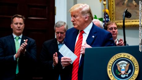 In this Wednesday, Oct. 9, 2019 photo, President Donald Trump finishes speaking after a signing ceremony for Executive Orders on transparency in federal guidance and enforcement in the Roosevelt Room at the White House in Washington (Jabin Botsford/The Washington Post via AP)