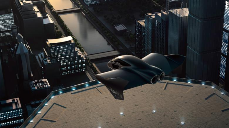 An artist rendering of a possible version of an electric flying car that Porsche and Boeing are planning to work together to develop. (Credit: CNN)