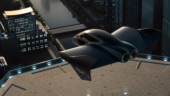 An artist rendering of a possible version of an electric flying car that Porsche and Boeing are planning to work together to develop.