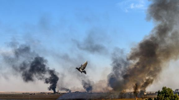 Smoke rises from the Syrian town of Tal Abyad.