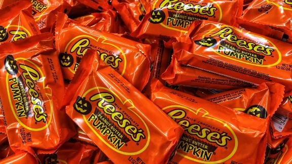 Reese's, Snickers, and M&Ms are the top three favorite candies for Halloween.