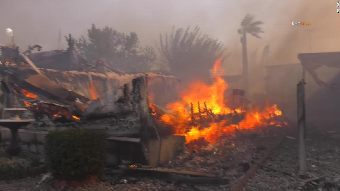 Rapidly spreading wildfire destroys mobile homes in Calimesa, California