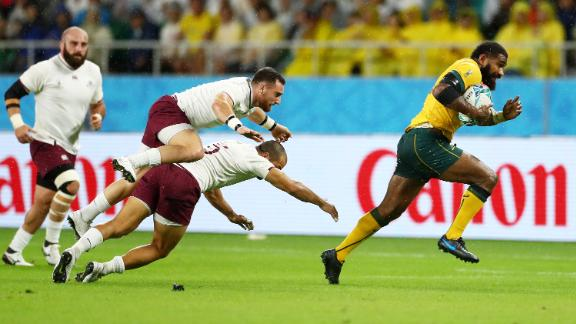 Marika Koroibete of Australia breaks through to score his side's second try during the Rugby World Cup 2019 Group D game between Australia and Georgia.