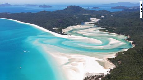Aerial photo of Whitehaven Beach, Whitsundays