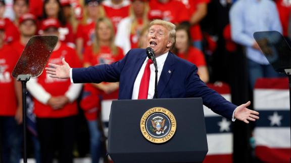 President Donald Trump addresses a campaign rally Thursday, October 10, 2019, in Minneapolis.