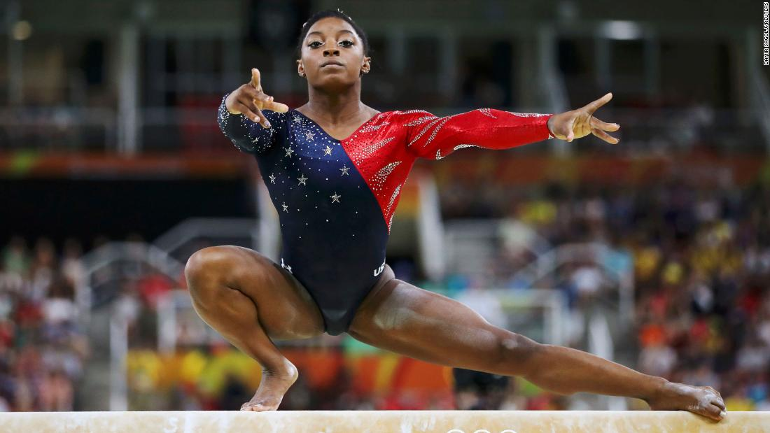 Biles competes on the balance beam at the 2016 Olympics in Rio de Janeiro.
