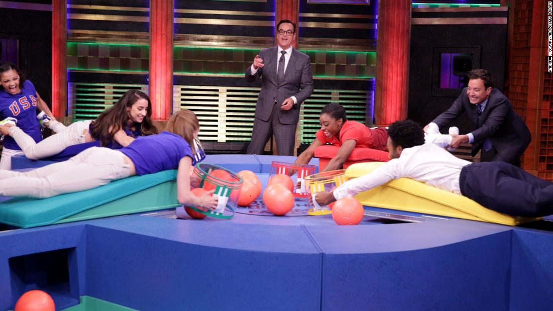 "Biles and other Olympic athletes play ""Hungry Hungry Humans"" on the Tonight Show with Jimmy Fallon."
