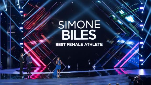 Biles speaks after receiving the best female athlete ESPY award in 2017.