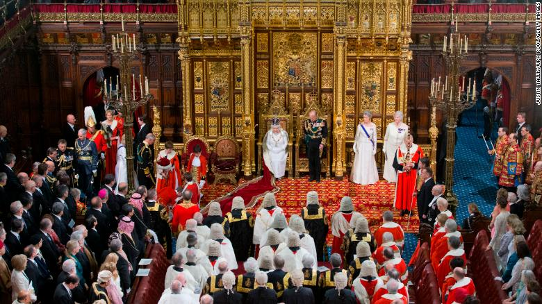 Queen Elizabeth II prepares to deliver her speech at the State Opening of Parliament in 2016.