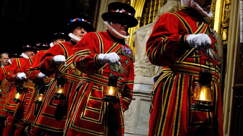 "The Yeoman of the Guard take part in the traditional ""ceremonial search"" in the Houses of Parliament."