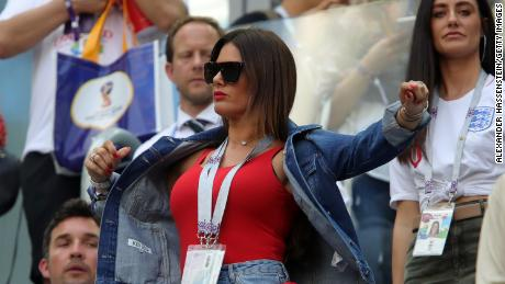 Rebekah Vardy watches as Jamie's England team plays during the 2018 FIFA World Cup.