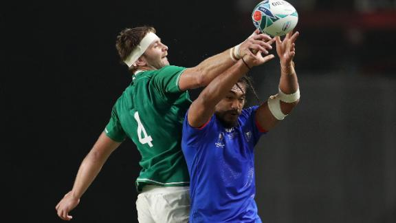 Chris Vui of Samoa wins the line-out from Iain Henderson of Ireland but it was the Irish who got the better of most duels despite having a player red carded.