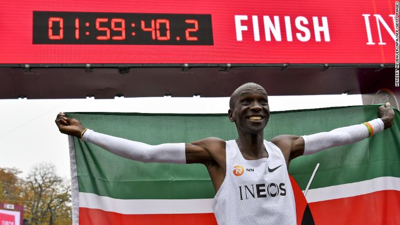 Kenya's Eliud Kipchoge during his attempt to bust the mythical two-hour barrier for the marathon.
