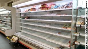 The remaining stock in a supermarket after people prepare for Typhoon Hagibis on October 12, 2019 in Yokohama, Japan.